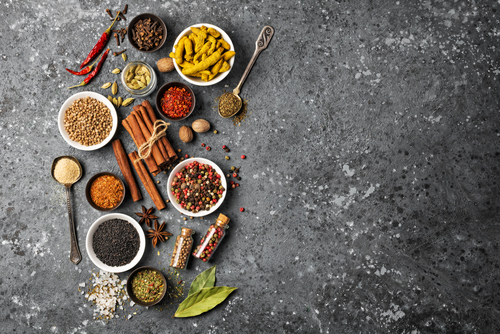 Top,View,Of,Mix,Bright,Spices,And,Herbs,In,Small