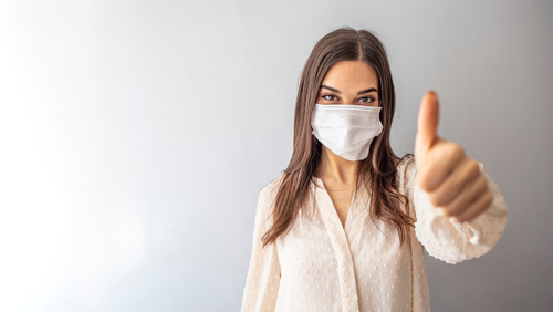 Beautiful,Caucasian,Young,Woman,With,Disposable,Face,Mask.,Protection,Versus