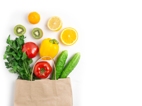 Various,Vegetables,And,Fruits,In,The,Bag,On,A,White