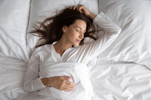 Peaceful,Serene,Beautiful,Young,Lady,Wear,Pajamas,Lying,Asleep,Relaxing