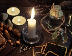 Occulture,Concept.,Burning,Candles,,Fortune-telling,Cards,And,Tincture,Bottles