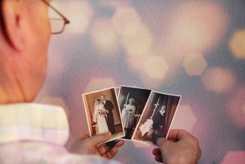 Old,Man's,Male,Hands,Hold,Old,Retro,Family,Photos,In