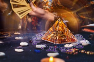 Magic,Divination,And,Esotericism.,Magic,Glass,Pyramid,With,A,Magical
